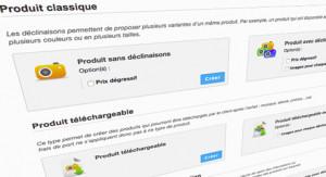 Créer un produit : sélection du type de produit
